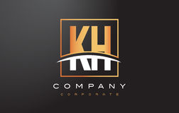KH K H Golden Letter Logo Design with Gold Square and Swoosh. Royalty Free Stock Images