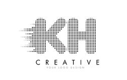 KH K H Letter Logo with Black Dots and Trails. Stock Image
