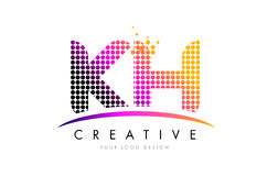 KH K H Letter Logo Design with Magenta Dots and Swoosh Stock Images
