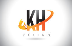 KH K H Letter Logo with Fire Flames Design and Orange Swoosh. Royalty Free Stock Images
