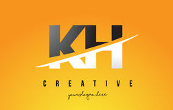 KH K H Letter Modern Logo Design with Yellow Background and Swoo Stock Image
