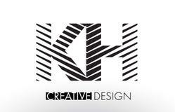 KH K H Lines Letter Design with Creative Elegant Zebra Stock Image