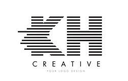 KH K H Zebra Letter Logo Design with Black and White Stripes Stock Photos