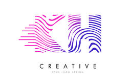 KH K H Zebra Lines Letter Logo Design with Magenta Colors Royalty Free Stock Images