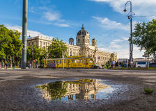 KH Museum and Yellow Ring Trams in Vienna Stock Photos
