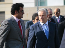 Kh Tamim bin Hamad bin Khalifa Al Thani, the Emir of Qatar and Klaus Wowereit Stock Photos