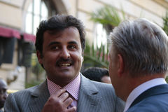Kh Tamim bin Hamad bin Khalifa Al Thani, the Emir of Qatar and Klaus Wowereit Stock Photography