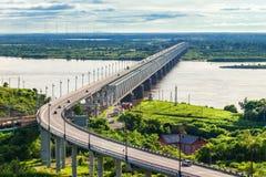 Khabarovsk Bridge crosses Amur Stock Photo