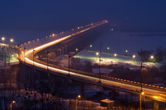 Khabarovsk Bridge at night Royalty Free Stock Image