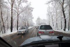 KHABAROVSK, RUSLAND - MEI 06, 2015: De sneeuw kan binnen Royalty-vrije Stock Fotografie