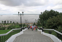 KHABAROVSK, RUSSIA. Amur river embankment stairs and view of Amur river Royalty Free Stock Photography