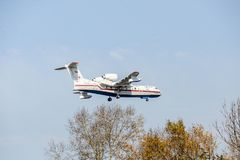 Khabarovsk, Russia - 03.10.2017: Beriev be-200 CHS Plane amphibian of the Ministry of emergency situations of Russia in. Khabarovsk, Russia - 03.10.2017: Beriev royalty free stock photos