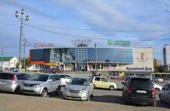 Khabarovsk, Russia, October, 5, 2017. Cars near shopping complex `Erofei` in Khabarovsk stock photography