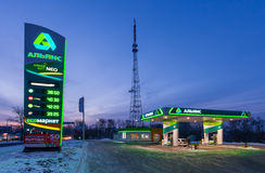 KHABAROVSK, RUSSIA - JANUARY 06, 2017: Gas station Royalty Free Stock Images