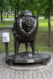 Zodiac sign Leo in the Park at the Amur Boulevard. KHABAROVSK, RUSSIA - JULY, 25, 2017: Zodiac sign Leo in the Park at the Amur Boulevard royalty free stock images