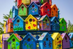Khabarovsk, Russia - June 20: multicolored birdhouses in the Park in Khabarovsk June 20, 2018 . Russia Stock Photography