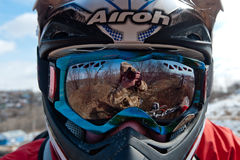 Khabarovsk , Russia - march 22, 2014 : the helmet of a motorcycle racer royalty free stock photo