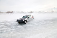 KHABAROVSK, RUSSIA - March 7, 2015: Honda civic at winter ice tr Royalty Free Stock Photography