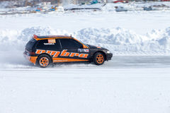 KHABAROVSK, RUSSIA - March 7, 2015: Honda civic at winter ice tr Royalty Free Stock Photos