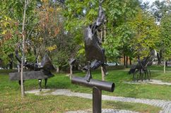 Khabarovsk, Russia, October, 5, 2017. Sculptures of zodiac signs in the city of Khabarovsk on the Amursky Boulevard. Khabarovsk, Russia. Sculptures of zodiac stock photo