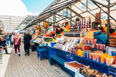 Fruit and vegetable, food store at Traditional Central Market in Khabarovsk, Russia stock image