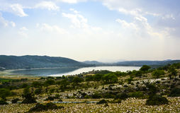 Khabeki Lake. Soon Valley, Khushab.  is a salt water lake, located in the Soon Valley in the southern Salt Range area in Khushab District, Punjab, Pakistan Stock Images