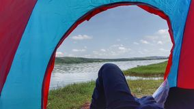 Frame of a tent. Khabeki Lake , Soon Valley & x28;punjab& x29 Royalty Free Stock Images