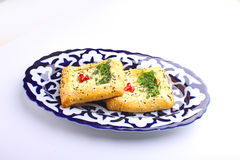 khachapuri  cake of puff pastry with cheese. And pomegranate Royalty Free Stock Photography