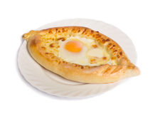 Khachapuri with egg Stock Photos