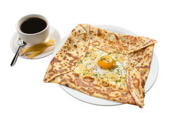 Khachapuri with egg and cup of coffee on white Royalty Free Stock Photo