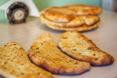 Khachapuri ghvezeli in a half moon form for christmas day, Geo Royalty Free Stock Photography