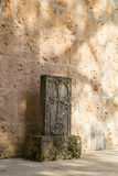 Khachkar is carved memorial stone. Royalty Free Stock Photo