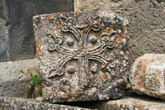 Khachkar or cross-stone. Cross-stones or khachkars at the 9th century Armenian monastery of Tatev. Khachkars are carved memorial stele, covered with rosettes and stock images