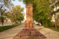 Khachkar (cross-stone). Saratov. Royalty Free Stock Images