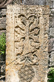 Khachkar of dwars-steen Stock Foto