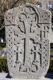 Khachkar en pierre dans Echmiadzin (Vagharshapat), Arménie, Caucase Images libres de droits