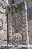 Khachkar, executed by the artist-carver Pavgos. This is a unique highly artistic work, called `Asehnagoraz` made with a needle,. Khachkar, executed by the artist Stock Photography