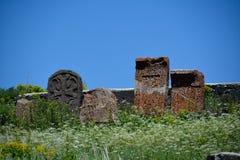 Khachkar kamienie w Sevanavank monasterze Fotografia Royalty Free