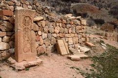 Khachkars av den Noravank kloster, medeltida kristen konst, Armenien, royaltyfri fotografi
