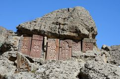 Khachkars (cross-stones) of Geghard monastery,Armenia Royalty Free Stock Photography
