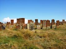 Khachkars del cimitero di Noratus Fotografia Stock