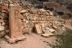 Khachkars do monastério de Noravank, arte cristã medieval, Armênia, Fotografia de Stock Royalty Free