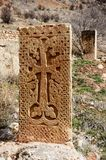 Khachkars medievales del monasterio de Noravank, arte cristiano, Armenia Imágenes de archivo libres de regalías