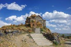 Khachkars at the monastery Hayravank. Lake Sevan shore royalty free stock images