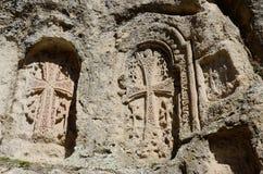 Khachkars van Ayrivank-klooster, middeleeuwse christelijke kunst, Armenië Royalty-vrije Stock Afbeeldingen