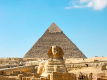 Khafra's Pyramid and the Great Sphinx. Necropolis on El-Giza plateau. Cairo, Egypt Royalty Free Stock Photography