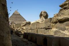 Khafre金字塔和在吉萨棉高原的狮身人面象在开罗在埃及 免版税库存照片