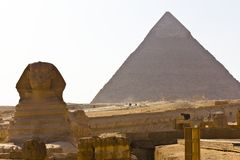 Khafre Pyramid and the Sphinx Stock Photo