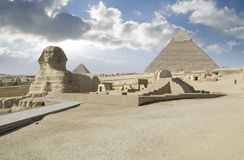 Khafre pyramid and sphinx. Scenic view of Khafre pyramid and Great Sphinx, Giza Plateau, Cairo, Egypt stock photography