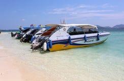 Speedboats at  Khai nai island. KHAI NAI ISLAND,PHUKET,THAILAND-APRIL 3:Speedboats at  Khai nai island.April 3,2016 in Phuket,Thailand Royalty Free Stock Photo